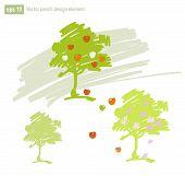 Set Of Stylized Apple Tree Vector Illustration