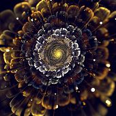 Yellow Fractal Flower With Violet Details On Petals, On White