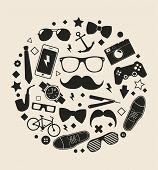 Set of fashionable men's accessories. vector illustration backdrop Vector template for design.