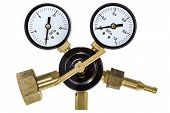 foto of manometer  - Gas pressure regulator with manometer isolated with clipping path - JPG