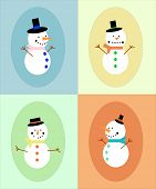 Four different snowman in different colors frame. EPS vector format.
