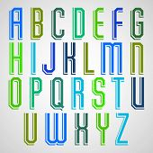 Colorful decorative font, geometric narrow uppercase letters with white outline.