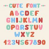 Simple colorful hand drawn font. Complete abc alphabet set. Vector letters and numbers. Doodle typog