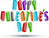 Happy Valentine's Day greeting phrase made with 3d retro style geometric letters.