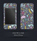 Style phone case. Print with floral elements and cartoon cats.