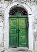 Green ancient frontdoor.
