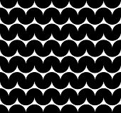 Black and white abstract seamless pattern, contrast wavy regular background.