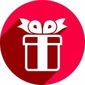 Gift box icon isolated on white background, holiday colorful symbol.