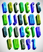 3d colorful letters tall alphabet made with round shapes, dimensional geometric font