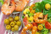 Vegetable Salad, Shrimp And Olives