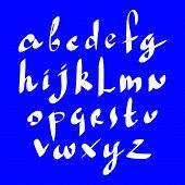 Calligraphic script, cursive hand drawn alphabet letters set