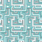 Maze seamless pattern, blue geometric cybernetic background.