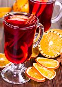 Hot Mulled Wine With Orange Slices And Cinnamon Sticks