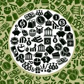 Money theme icons set, finance theme simplistic symbols collection, includes seamless pattern in bac