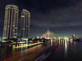 Reflect river night scene chao phraya bridge built