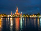 Wat Arun Reflect river night scene light
