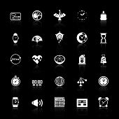 Design Time Icons With Reflect On Black Background