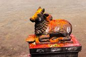 stock photo of shiva  - Statue of Lord Nandeshwara  - JPG