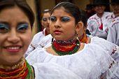 Indigenous community celebrating Inti Raymi, Inca Festival of the Sun in Ingapirca, Ecuador