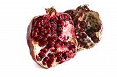 Two Half Of Pomegranate On A White Background