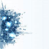 Blue bright ink splashes. Grunge background