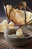 pic of raw materials  - Fish maw soup table set with clay pot and raw material - JPG