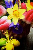 stock photo of purple iris  - Arrangement of Yellow Daffodils Magenta Tulips Purple Irises in Wicker Basket with Colored Easter Eggs closeup on Wooden background - JPG