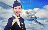 Portrait of young beautiful stewardess