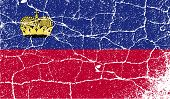 Flag Of Liechtenstein With Old Texture. Vector