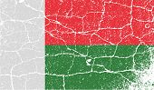Flag Of Madagascar With Old Texture. Vector