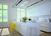 image of kitchen appliance  - Luxurious kitchen with stainless steel appliances in a apartment - JPG
