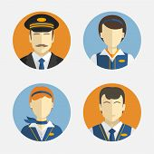 picture of flight attendant  - Vector icons depicting different Professions pilots and pretty flight attendant in uniform - JPG