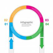 Abstract info-graphic in a circle shape.