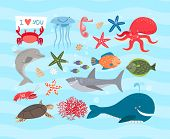 stock photo of sea-turtles  - Vector set of cute sea animals - JPG