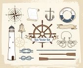 stock photo of wind wheel  - Set of vintage nautical decoration - JPG