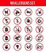 stock photo of insect  - Set of allergen free products icons - JPG