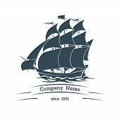 Постер, плакат: Big sail ship logo icon