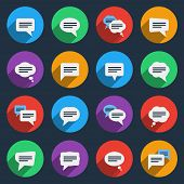 Speech bubble icons in flat style