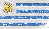 Flag Of Uruguay With Old Texture. Vector