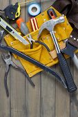 stock photo of leather tool  - Home renovation in progress - JPG