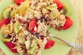 picture of oats  - oatmeal or oat muesli with fruits - JPG