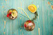 detox fruity water in two cups