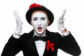 pic of anger  - Portrait of the angry and resent woman as mime with open mouth isolated on white background - JPG