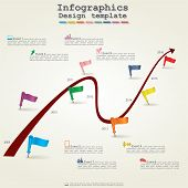 Timeline infographics with elements and icons. Vector