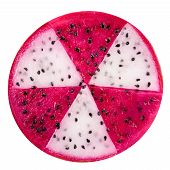 Concept Radioactive Of Slice Red And White Dragon Fruit, Pitaya Or Cactus Is Isolated On White Backg