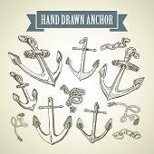 Hand drawn anchor. Set of vector illustrations