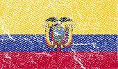 Flag Of Ecuador With Old Texture. Vector