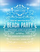 stock photo of beach party  - Vector beach party invitation with white ornaments and ribbons on a blurry ocean background - JPG
