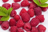 Raspberry Super Food On White Background