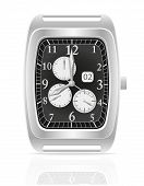 Silver Mechanical Wristwatch Vector Illustration